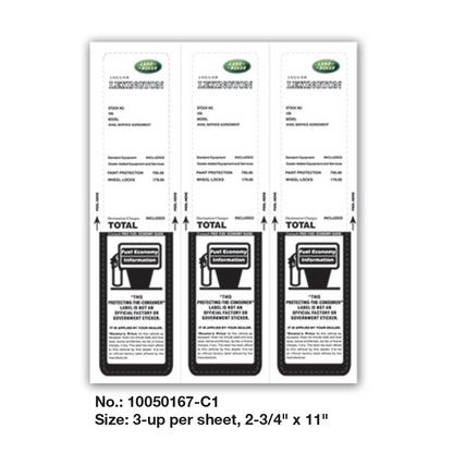 """Custom Laser Form Design - 3-up per sheet, 2-3/4"""" x 11"""" - Part No.: 10050167-C1"""