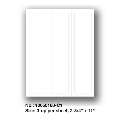 """Do-It-Yourself Blank Die-Cut Laser Forms - 3-up per sheet, 2-3/4"""" x 11"""", Part No.: 10050168-C1"""