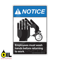 Employees must wash hands before returning to work (Vertical sign)