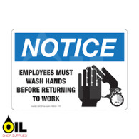 Employees Must Wash Hands - NOTICE - Horizontal Safety Sign