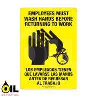 Employees Must Wash Hands Eng/Spa - Vertical Yellow Safety Sign