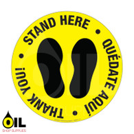 Stand Here - Eng/Spa - Floor Safety Sign