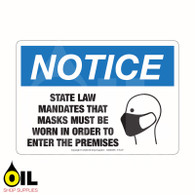 STATE LAW MANDATES MASKS - NOTICE