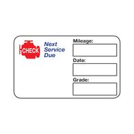 Handwritten Service Reminder Labels - Check Engine Logo