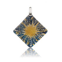 Blue Glass Diamond Sunburst Pendant Necklace