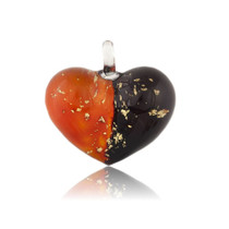 Red Orange Glass Heart Two-tone Pendant Necklace