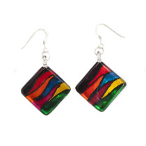 Multi-colour Glass Diamond Striped Drop Earrings
