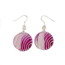Fuchsia Pink Glass Round Drop Earrings