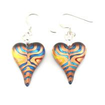 Multi-colour Glass Heart Drop Earrings