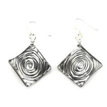 Black Swirl Glass Diamond Drop Earrings