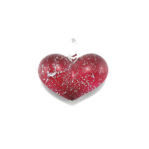 Red Glass Heart Silver Fleck Pendant Necklace