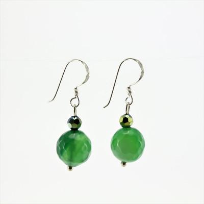 Green Agate Stone Drop Earrings