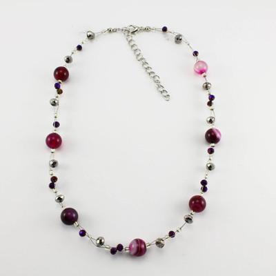 Fuchsia Pink Agate Stone Necklace