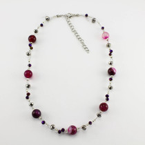 Fuchsia Pink Agate Stone Necklace