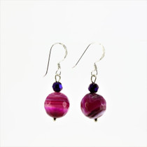 Fuchsia Pink Agate Stone Drop Earrings