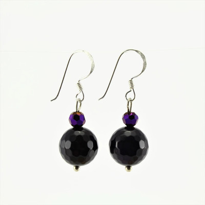 Purple Agate Stone Drop Earrings