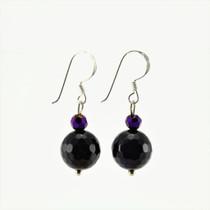 Purple Agate Stone Drop Earrings
