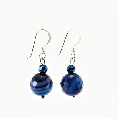 Blue Agate Stone Drop Earrings