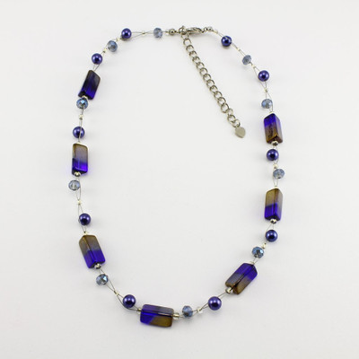 Navy/Gold Rectangle Glass Crystal Necklace