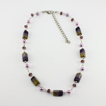 Purple/Gold Rectangle Glass Crystal Necklace