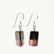 Purple/Gold Rectangle Glass Crystal Drop Earrings