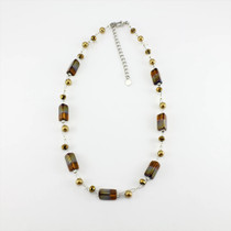 Gold Rectangle Glass Crystal Necklace