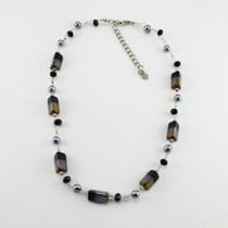 Black/Gold Rectangle Glass Crystal Necklace