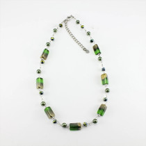 Green/Gold Rectangle Glass Crystal Necklace