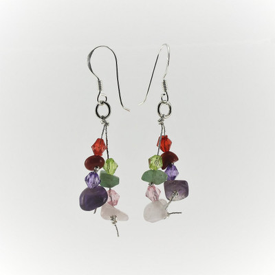 Multiple Gemstone Drop Earrings