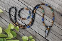 Black Onyx, Lapis, Tigers Eye, Ruby Zoisite with Tigers Eye Pendant & Bracelet