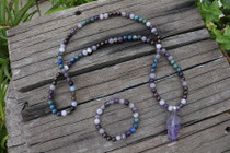 Amethyst, Garnet & Lapis Mala Beads with Amethyst Pendant and Bracelet