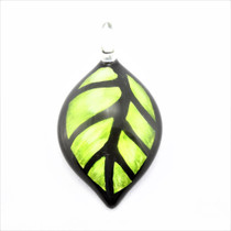 Green Leaf Glass Pendant Necklace