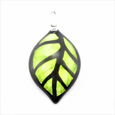 Green Leaf Glass Pendant Necklace