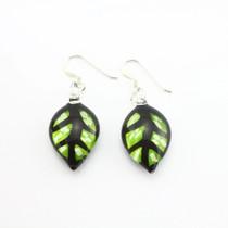 Green Leaf Glass Earrings