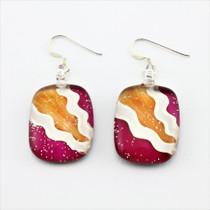 Red/Orange Oval Glass Earrings