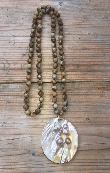Picture Jasper and Tiger's Eye Necklace with Mother of Pearl Pendant