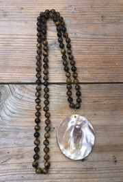 Tiger's Eye Necklace with Mother of Pearl Pendant