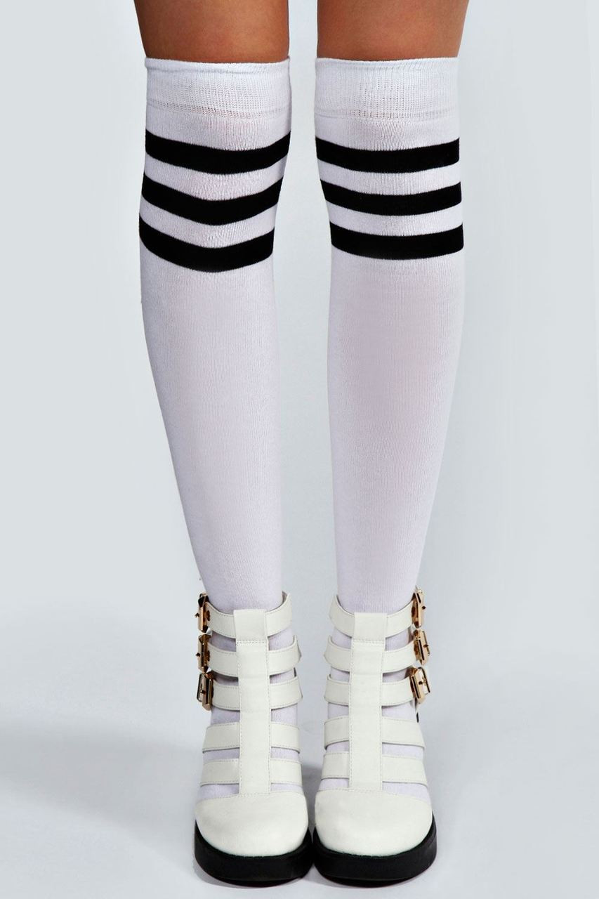 Twisted Ladies Knee High Tube Socks [WHITE]