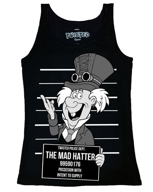 Twisted Alternative Steampunk Mad Hatter Mug Shot Vest Top