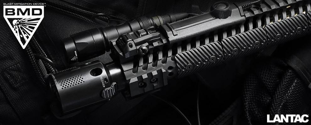 LANTAC BMD Type-A Blast Mitigation Device mounted on LANTAC Dragon AR-15