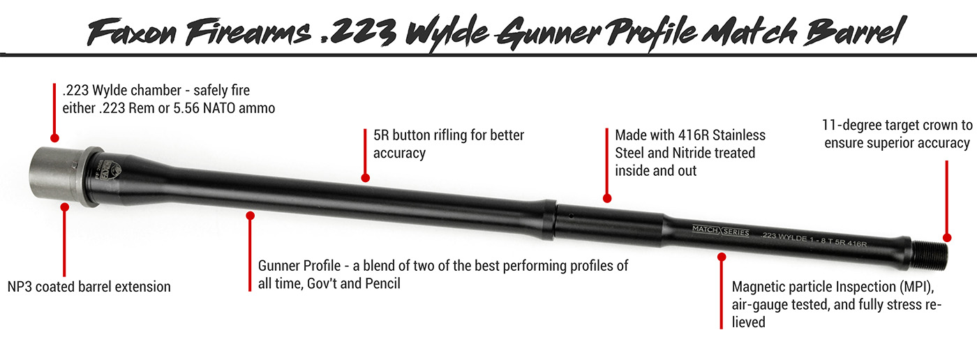 Faxon Firearms .223 Wylde Gunner Profile AR-15 Match Barrel