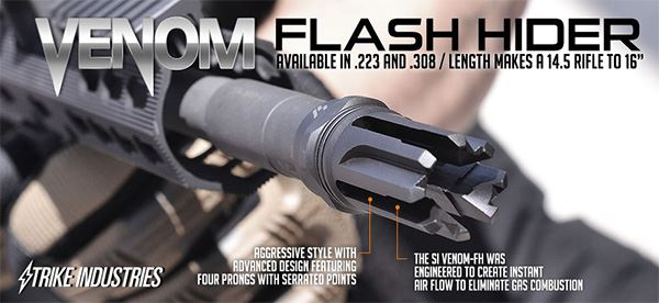 The SI Venom Flash Hider is one of the world's most effective flash hiders