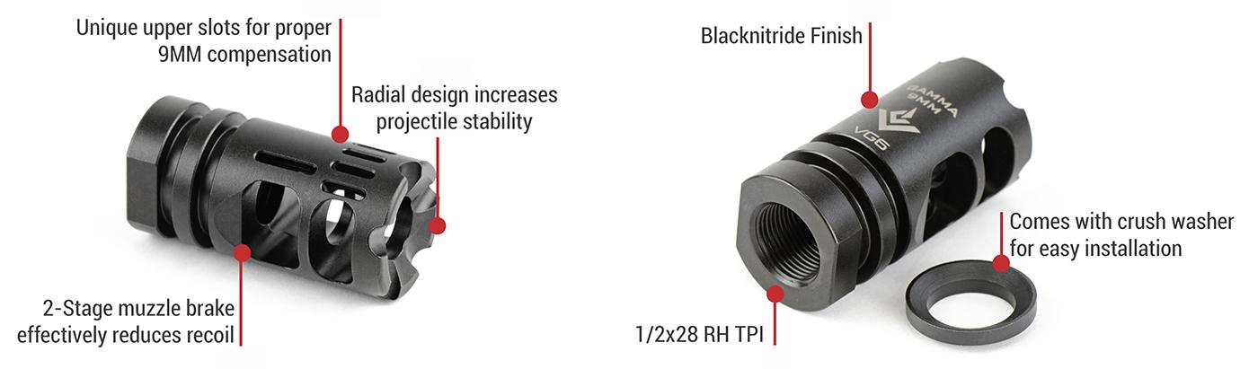 VG6 Precision GAMMA 9MM   1/2x28 9mm muzzle device