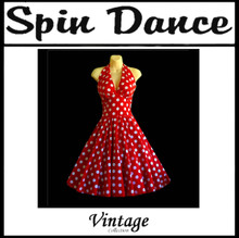 Spin Dance Full Circle Red and White Polka Dot Halter Dress