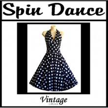 Spin Dance Full Circle Black and White Polka Dot Halter Dress