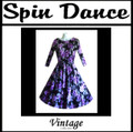 Full Circle 3/4 Sleeve Dress Purple Flowers