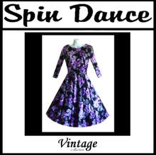 Full Circle 3/4 Sleeve Dress Purple Flowers