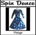 Full Circle 3/4 Sleeve Dress Turquoise Flowers