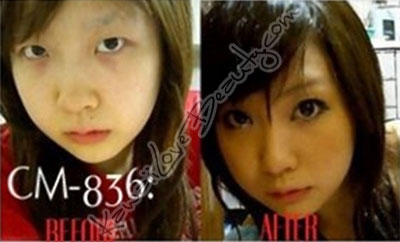 Girl wearing black circles, before and after