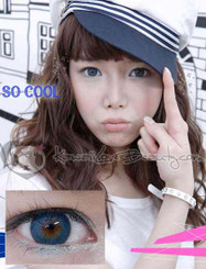 Lovely, striking blue eyes with Geo Hurricane colored contact lenses.